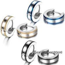 One Pair 4MM Small Hoop Huggie Stainless Steel Mens Womens Hoop Stud Earrings