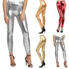 Womens Wetlook Disco Shiny Legging  Stretch Dance Wear Ladies Fancy Dress Party