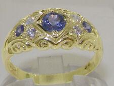 Solid 14ct Yellow Gold Natural Tanzanite & Diamond Vintage Style Band Ring
