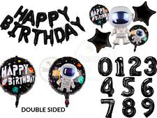 "Happy Birthday 18"" inch Black Balloons Space Astronaut Birthday Decorations UK"