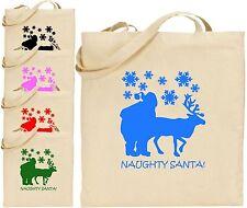 Naughty Santa Large Cotton Tote Shopping Xmas Bag Christmas Present Secret Gift
