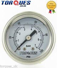 """Torques Analog Fuel Pressure Gauge 1/8"""" NPT  0-7 BAR / 0-100 PSI Fluid Filled"""