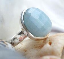 Massiv Ring Silber 56 Aquamarin Hellblau Silberring Schlicht Puristisch Oval