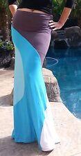 Maya Antonia-PLUS SIZE-Slimming- Sky Blue-Grey Color-Block Maxi Skirt,Extra Long