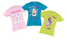 Schulanfang T-Shirt mit Name und Motiv Schulkind Schultüte tailliert für Mädchen