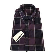 XACUS camisa de hombre cuadros azul/ violeta 100 % algodón ligero ajustado