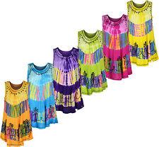Womens Ladies Umbrella Cut Floral Dress Sleeveless Top Tie Dye, Printed Design