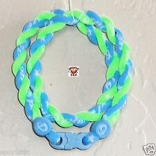 Phiten Tornado Custom Necklace: Carolina Blue with Optic Green
