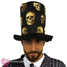 ADULT SKULL PRINT TOP HAT HALLOWEEN FANCY DRESS COSTUME DAY OF THE DEAD SKELETON