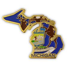 PinMart's State Shape of Michigan and Michigan Flag Lapel Pin