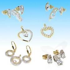 333 gelb weiß Gold Anhänger oder Ohrringe Solitär Diamant & Cubic Zirkonia NEU