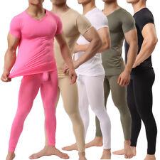 Men's Basic Suit Fitness Bodybuilding Sport T-shirt +Long pants Body Suit
