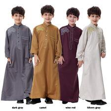 Boys Child Prayer Robe Saudi Dubai Muslim Long Sleeve Dress Abaya Kaftan Jilbab
