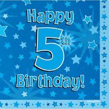Joyeux 5th Fête d'anniversaire SERVIETTE ETOILE BLEUE 33cm Papier célébration