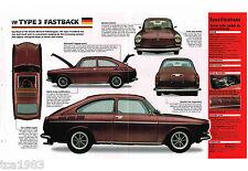 Volkswagen VW TYPE 3 FASTBACK IMP Brochure: 1969,1970,1971,