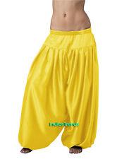Yellow Satin Harem Yoga Pant Belly Dance Pantaloons Bombachos Aladdin Halloween