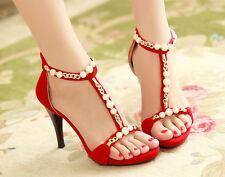 Sandali donna Perle rosso eleganti comodi tacco spillo 10 cm Plateau 1.5  8892