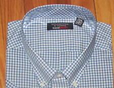 Roundtree Mens SS Navy White Plaid Travel Shirt XLT, 2X, 2XLT, 3X, 3XLT,4XLT NWT