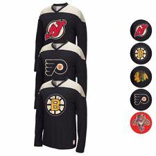 2015-16 NHL REEBOK CCM THROWBACK LONGSLEEVE TEAM LOGO JERSEY T-SHIRT MEN'S