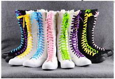 Gothique Hauteur Cheville Chaussures, Femmes Toile Bottes, Gift:5 Couleur Lacet