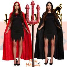 Terciopelo Manto Capa Con Capucha Disfraz De Halloween Disfraz Diablo Para Adultos para mujeres chicas