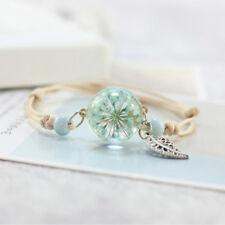 Boho Vintage Dry Flower Glass Ball Weave Adjustable Bangle Charm Bracelet MA