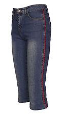 Womens Denim Stretch Cropped Trouser Ladies Pants Jeans Blue Shorts Bottom 6-12