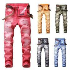 Mens Distressed Ripped Biker Slim Jeans Super Stretched Moto Denim Pants MOON