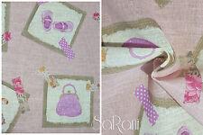 Fabric JIM Linen and cotton Children Pink Furniture Curtains Pillows Bed SARANI