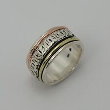 Drehring Ring 11 mm breit 925 teilvergoldet Silberring Gr.  54 55 56
