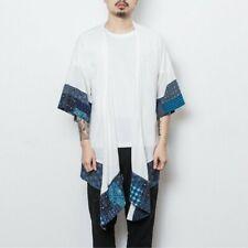 Men's Cardigan Coats Jackets Patchwork Linen Harajuku Vintage Chinese Style