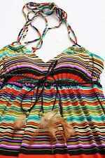 VALERIE BERTINELLI Womans INDIAN BEADS & FEATHERS SLEEVELESS MAXI DRESS NEW Sz 8