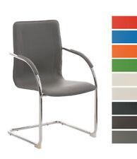 Chaise visiteur MELINA revêtement en similicuir avec accoudoirs piétement luge