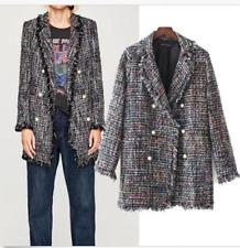 CHIC WOMENs Wool Cotton Tweed Frayed Jacket Mid long Blazer Slim Coat Outwear