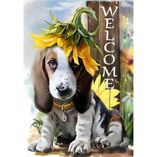Welcome Cute dog and sunflower Garden Flag Double-sided House Decor Yard flag