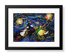 Peter Pan Never Grow Up Princess Tinkerbell Van Gogh Starry Night Wall Art A032