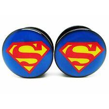 Ear Plug Tunnel Superman Logo Screw Fit Acrylic Body Piercing Stretcher 4-16mm