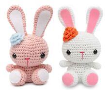 Bunnies With Flower Handmade Amigurumi Stuffed Toy Knit Crochet Doll VAC