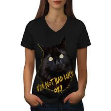Bad Luck Noir Funny Cat Femmes T-Shirt col V nouveau   wellcoda