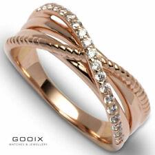 GOOIX Damen Ring aus rosé farbenem Edelstahl mit weißen Zirkonia 444-05860