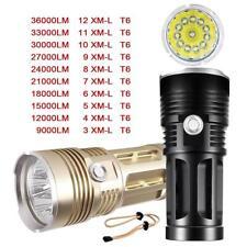 36000 Lumen  X-XML T6 12x LED Flashlight 4x 18650 Ultra Bright Hunting Lamp GA