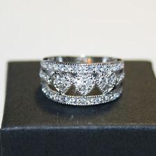 Diamond Alternatives Heart Wedding Engagement Promise Band Ring 14k over 925 SS