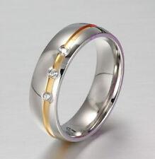 Ring Fingerring f. Damen Edelstahl mit 3 CZ Kristall Grau (Silber)(3)