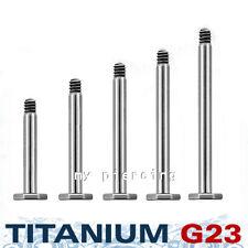 "G23 Solid Titanium Threaded Post Labret Monroe & Cheek Piering 16G 1/4"" to 5/8"""