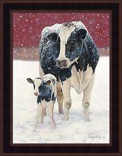 FIRST CHRISTMAS by Bonnie Mohr FRAMED PRINT PICTURE 15x19 Farm Holstein Cow Calf