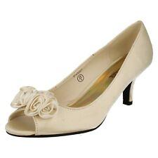 Spot On F1R0057 Ladies Ivory Satin Heeled Shoe w/Satin Rose & Diamante (R29B)J&K