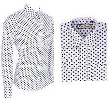 Hombre Retro Blanco Lunares Camisa Botón Manga Larga Abajo 60s 70s Mod Vintage