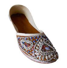 Women Shoes Jutti Indian Leather Handmade Mojari Brown Oxfords Flat US 6-9