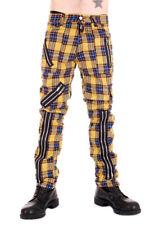 Punk Yellow Tartan Zip Bondage Pants by Tiger of London