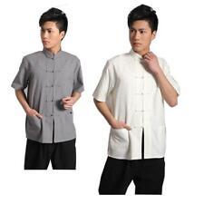 Short Sleeve Cotton Traditional Chinese  Tang fu Top Men Kung Fu Tai Chi Clothes